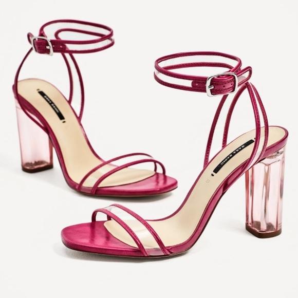 a00a1b0b187 Zara Fuchsia Vinyl Heeled Sandals